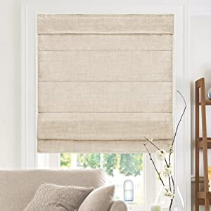 "CHICOLOGY Cordless Roman Shades Modern Fabric Cascade Window Blind Treatment, 34""W X 64""H, Belgian Flax (Privacy & Light Filtering)"