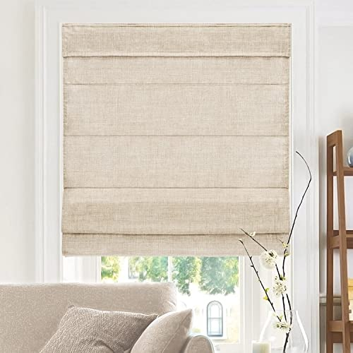 CHICOLOGY Cordless Roman Shades Cross-Hatched Modern Fabric Cascade Window Blind Treatment, 47 W X 64 H, Belgian Flax Privacy Light Filtering