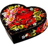 Petrykiv Ethnic Floral Style Heart-Shaped Lacquered Wooden Jewelry Box Hand Painted in Ukraine,