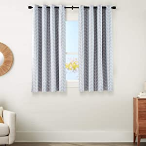 "AmazonBasics Room-Darkening Blackout Curtain Set with Grommets - 52"" x 63"", Light Grey Herringbone"