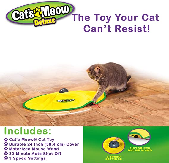 Yellow OWIKAR Electronic Cats Meow Pet Toy 4 Speed Automatic Undercover Mouse Cats Meow Interactive Electronic Kitty Cat Playing Toy