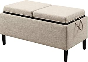 Convenience Concepts 143042T Designs4Comfort Storage Ottoman, Tan