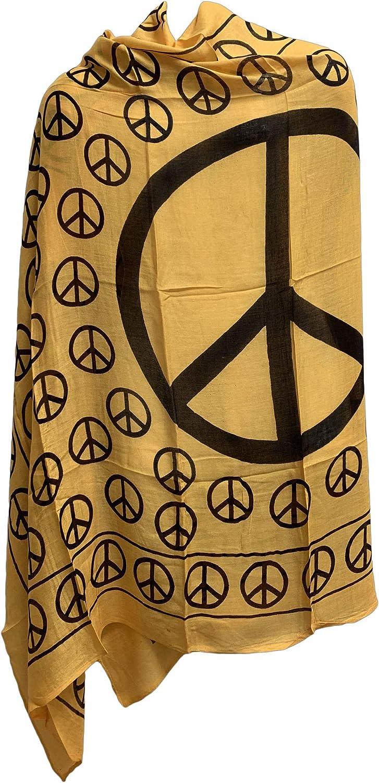 Yoga Meditation Peace Sign Indian Cotton Prayer Shawl