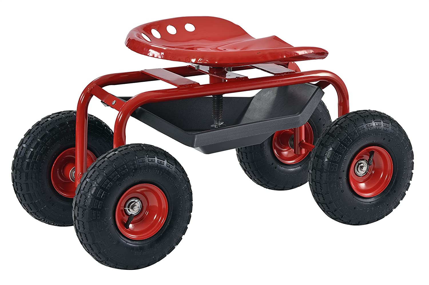 "Muscle Carts RGS331722-RED Rolling Seated Garden Stool, 15.8"" Height, 18.5"" Width, 32"" Length,"