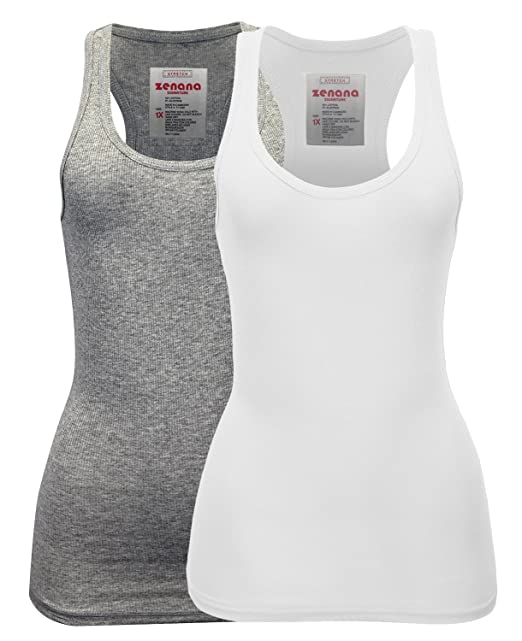 71bbb885929974 Zenana Women s Plain Solid Color Ribbed Racerback Tank Top Shirt Plus Sizes  2 Pack  Heather
