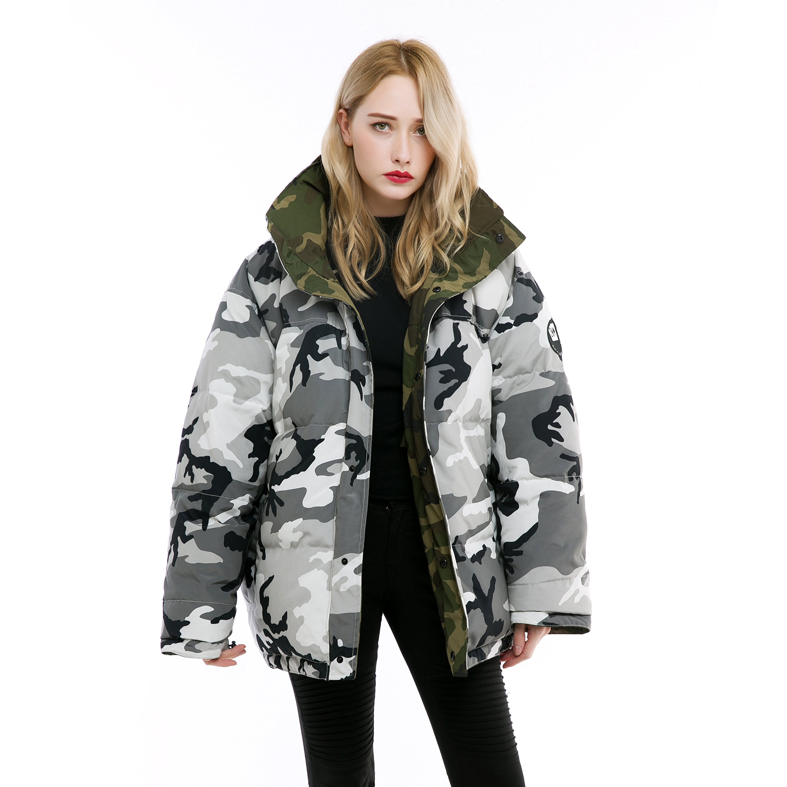 Fashion Womens Double-Sided Camouflage Down Jacket (The Warmest Fashion Gift)(Delivery within 15 days)