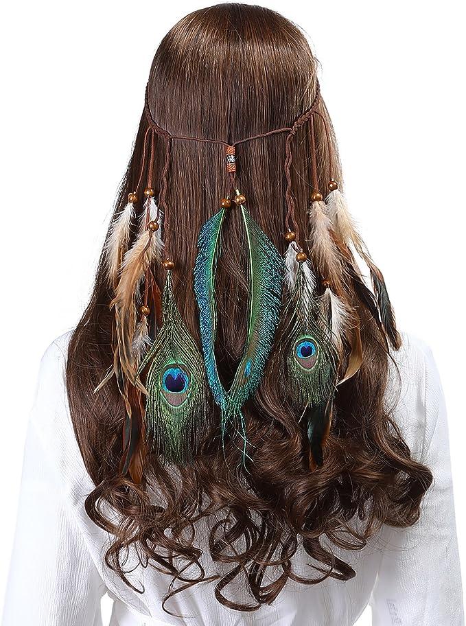 Feder Stirnband Indisch Kopfschmuck Boho Hippie Perlen Maskerade Haarschmuck