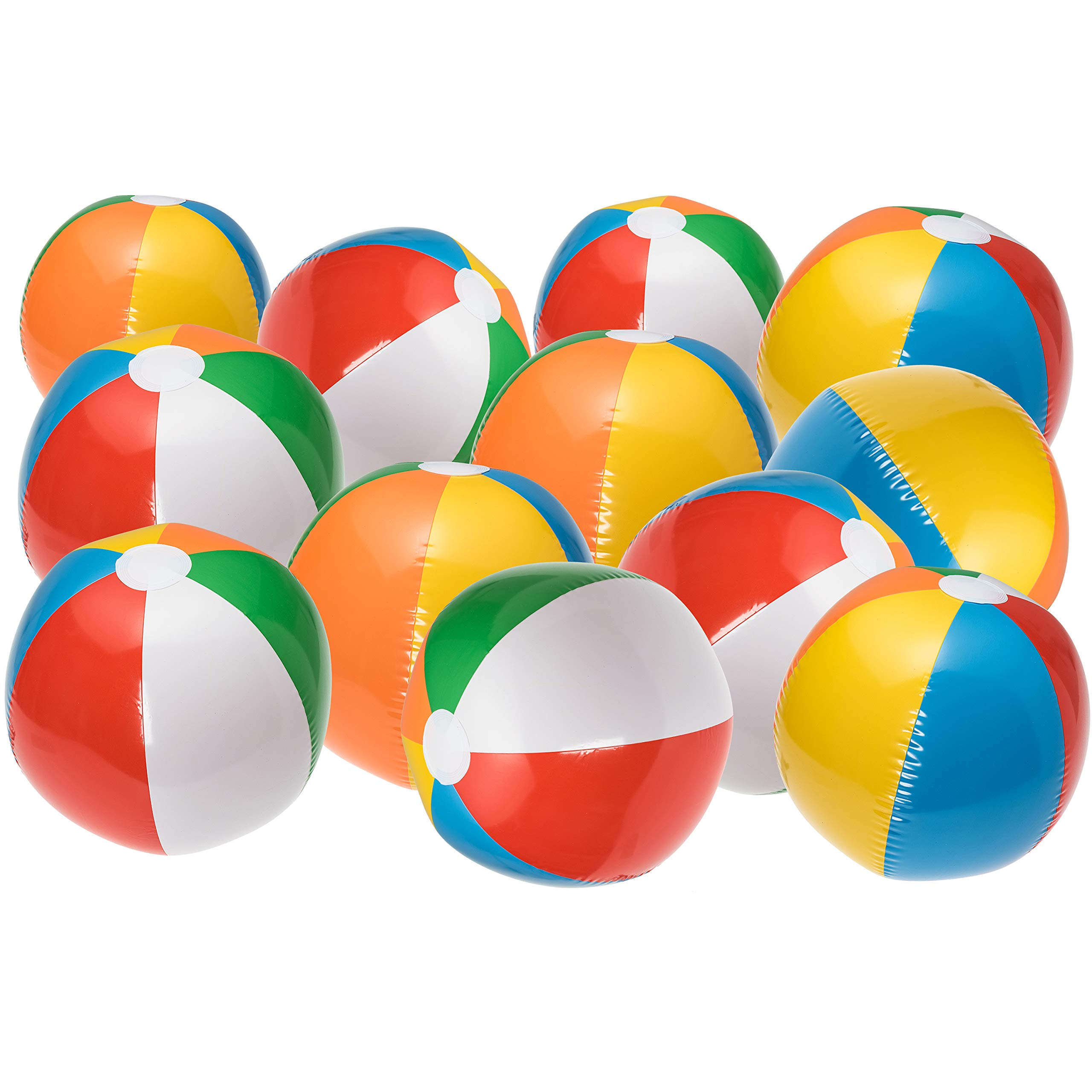 NJ Novelty Large Inflatable Beach Balls 20 Inch, Pack of 12 Rainbow Colored for Pool Party, Summer Water Fun and Birthday Parties - Bulk Pack for Adults and Children by NJ Novelty