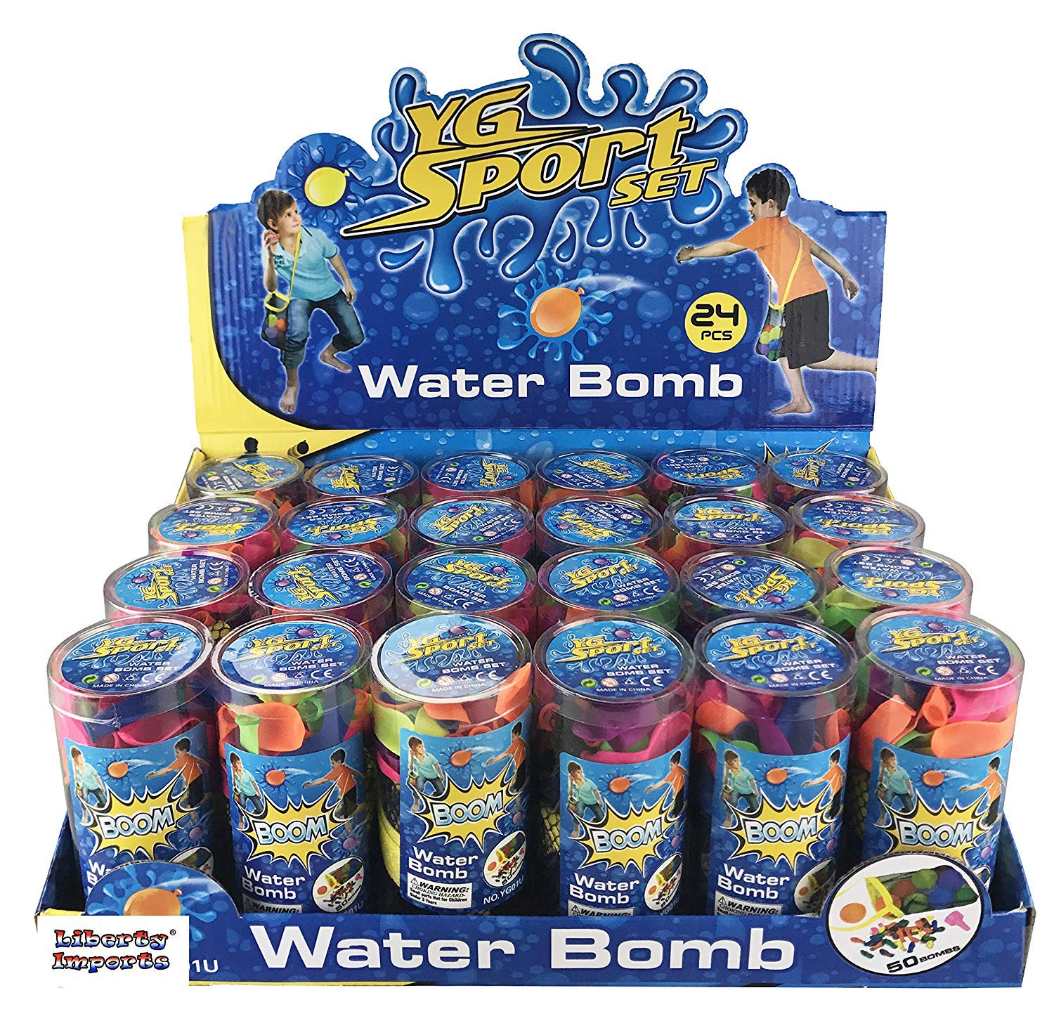 24 Pack - Refill Kits of Latex Water Balloons Bomb - Summer Water Balloon Fight, Party Favors, Sports Fun for Kids and Adults - Multicolored with Nozzle and Carry Bag (1200 Count) by Liberty Imports (Image #4)