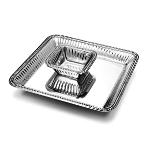 Wilton Armetale Flutes and Pearls 2-Piece Large Square Chip and Dip Serving Set, 15-Inch