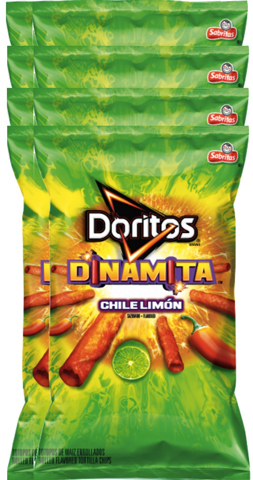 Doritos Dinamita Chile Limon Rolled Flavored Tortilla Chips, 9.25 oz Snack Care Package for College, Military, Sports (8)