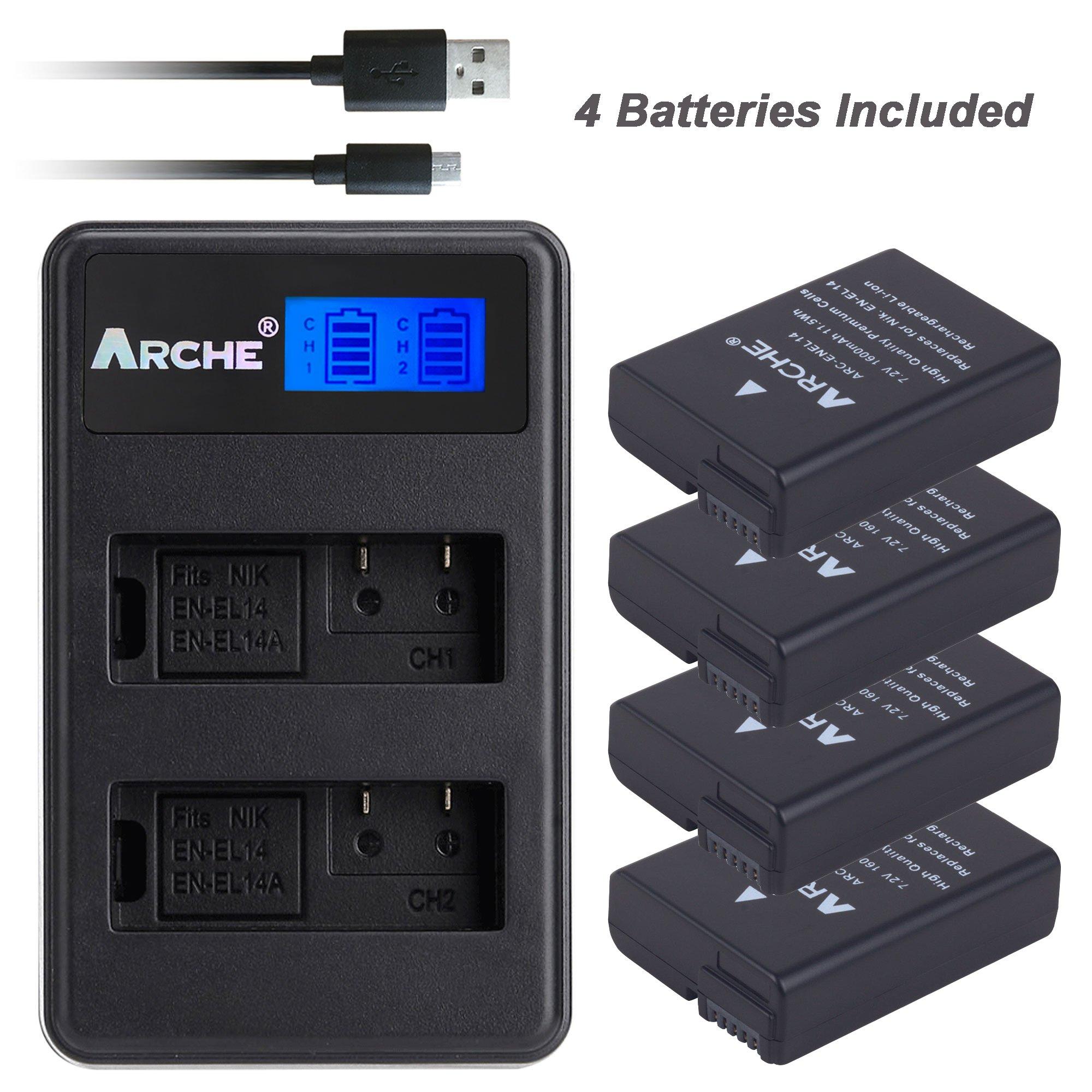 ARCHE EN-EL14 EN-EL14A <4 Pack> Battery and LCD Dual Charger Kit for [Nikon MH-24 D3100 D3200 D3300 D3400 D5100 D5200 D5300 D5500 D5600 Coolpix P7000 Coolpix P7100 Coolpix P7700 Coolpix P7800 Df DSL]