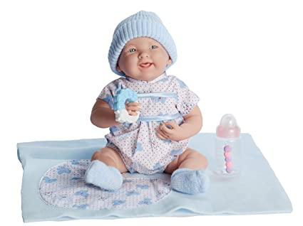 "7f45057ebe20f Image Unavailable. Image not available for. Color: JC Toys La Newborn  15.5"" Soft Body BLUE Boutique Baby Doll Realistic Gift Set,"