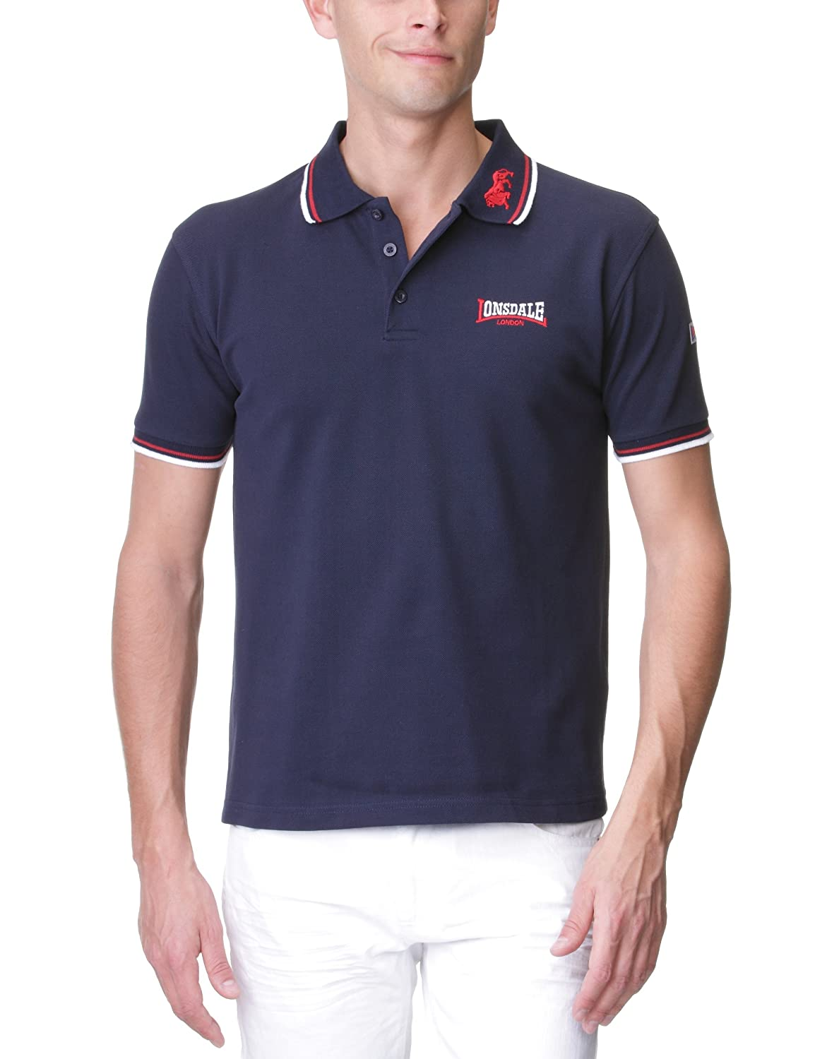 Navy darkred Large Lonsdale Mens Polo Shirt Lion