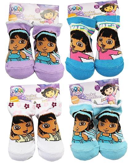 Dora the Explorer Assorted Color/Design Baby Bootie Socks (2 Pairs, 6-