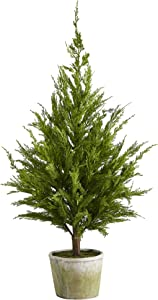 """Nearly Natural 3.5ft. Cedar Pine """"Natural Look"""" Artificial Tree in Decorative Planter, Green"""