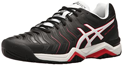 ASICS Men's Gel-Challenger 11 Tennis Shoe, Black/White/Vermilion, 6