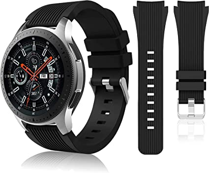 HSWAI Compatible Samsung Galaxy 46mm/ Gear S3 Frontier/ Classic Watch Bands, Soft Silicone Band 22mm Replacement for Samsung Galaxy Watch SM-R800 ...