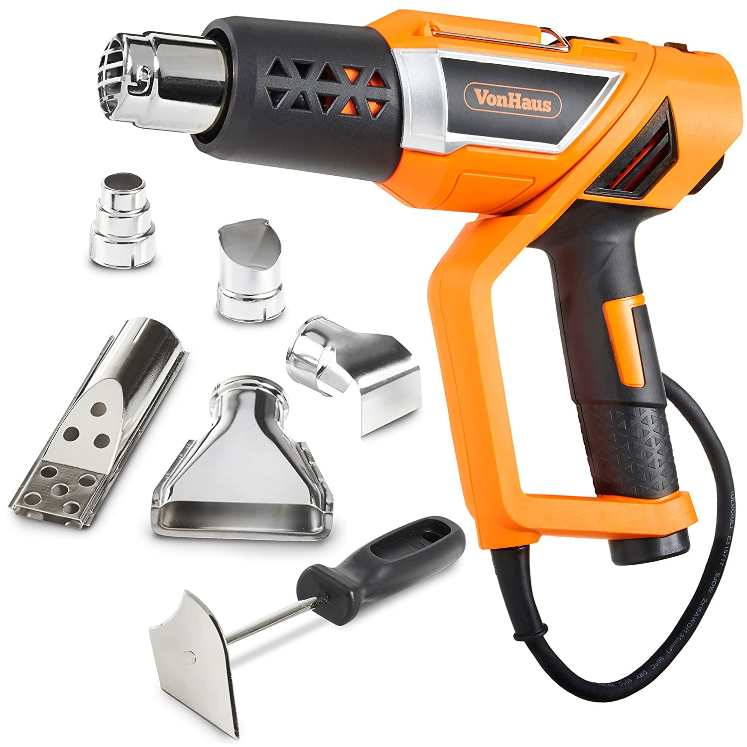 VonHaus Professional Electric Heat Gun Set with Twistable Nozzle 3 Temperature Settings Adjustable Handle and 5 Accessories for Heating BBQ Grills PVC Shrink Stripping Paint Soldering Pipes
