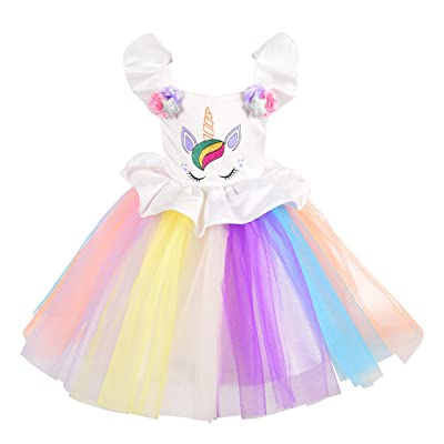 Dressy Daisy Girls Unicorn Costume Princess Birthday Party Dress Up: Clothing