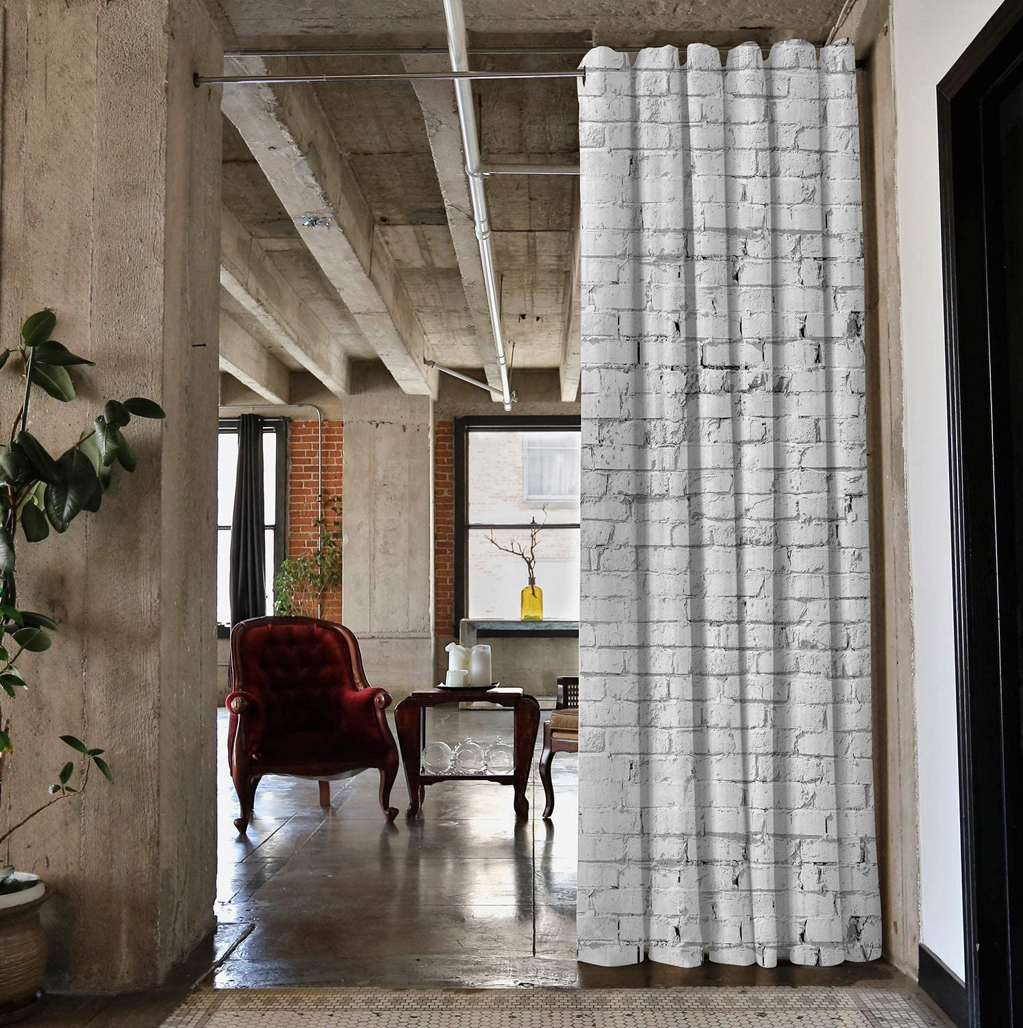 X-Large A 12ft Wide 8ft Tall x 9ft White Brick RoomDividersNow Ceiling Track Room Divider Kit