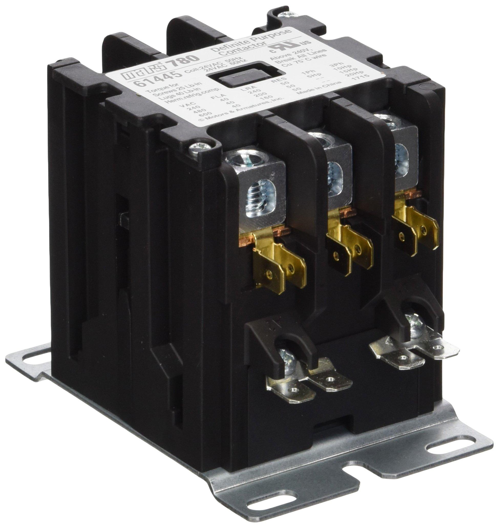 MARS - Motors & Armatures 61445 3P 40A 24V Box Lug Term Contactor