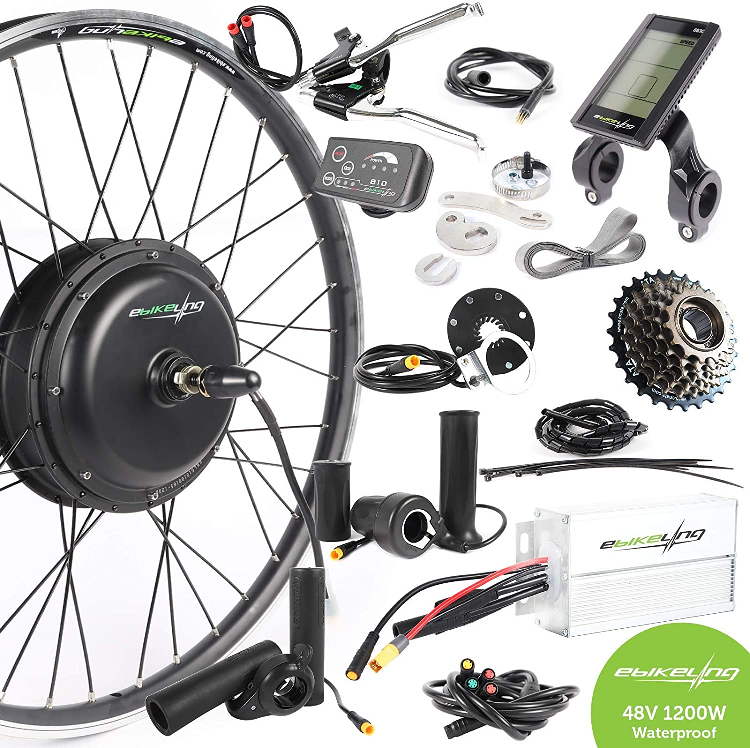 "ebikeling 48V 1200W 26/"" FAT Direct Drive Front Rear Electric Bike Conversion Kit"