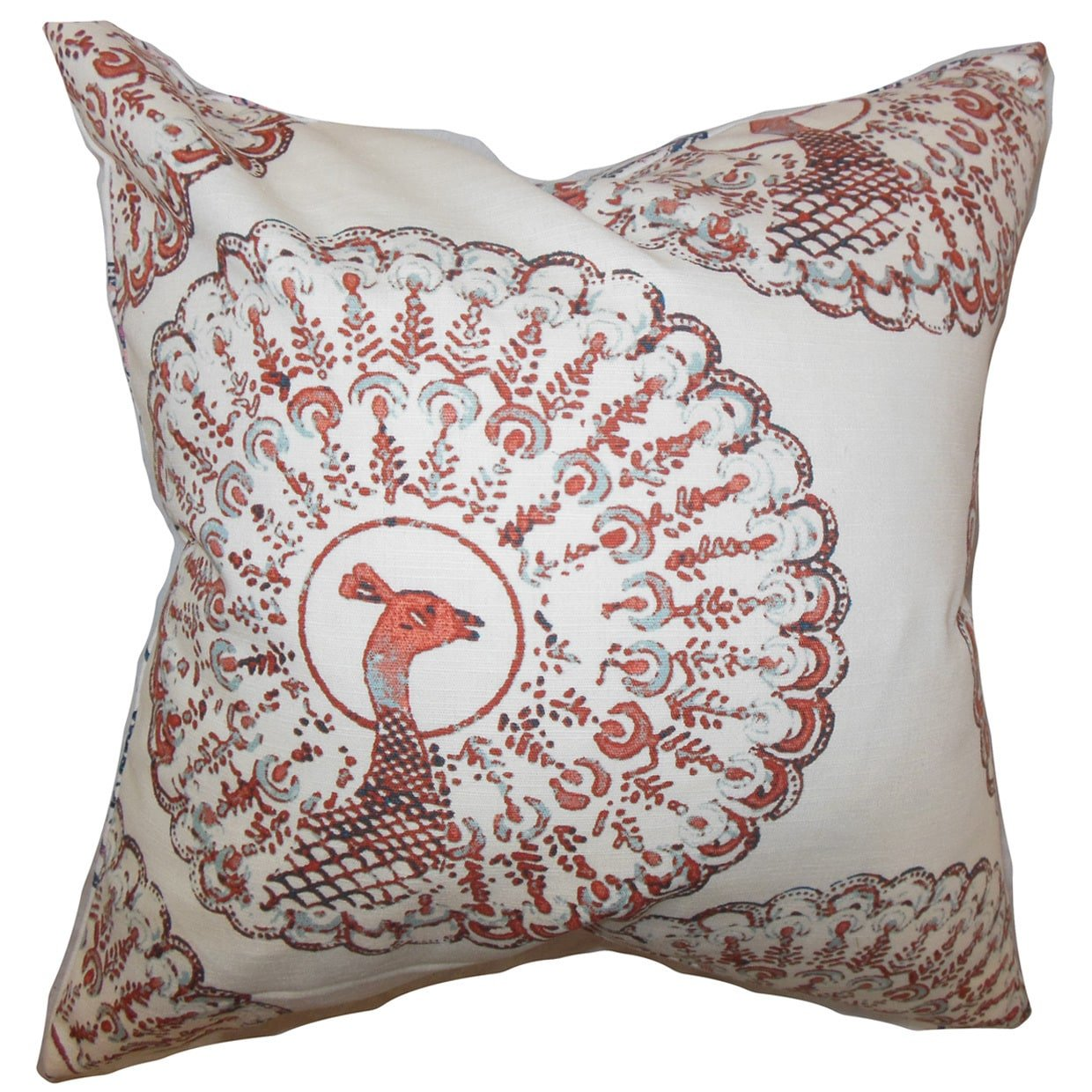 The Pillow Collection QUEEN-d-paboreal-coral-c95-l5 Coral Ieesha Animal Print Bedding Sham, Queen/20'' x 30''