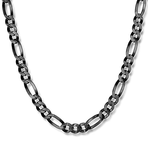 be589b128d7e STERLL Caballeros Cadena del Cuello Plata Negro Oxidado 60 cm sin Remolque  Bolsa de Joyas  Amazon.es  Joyería
