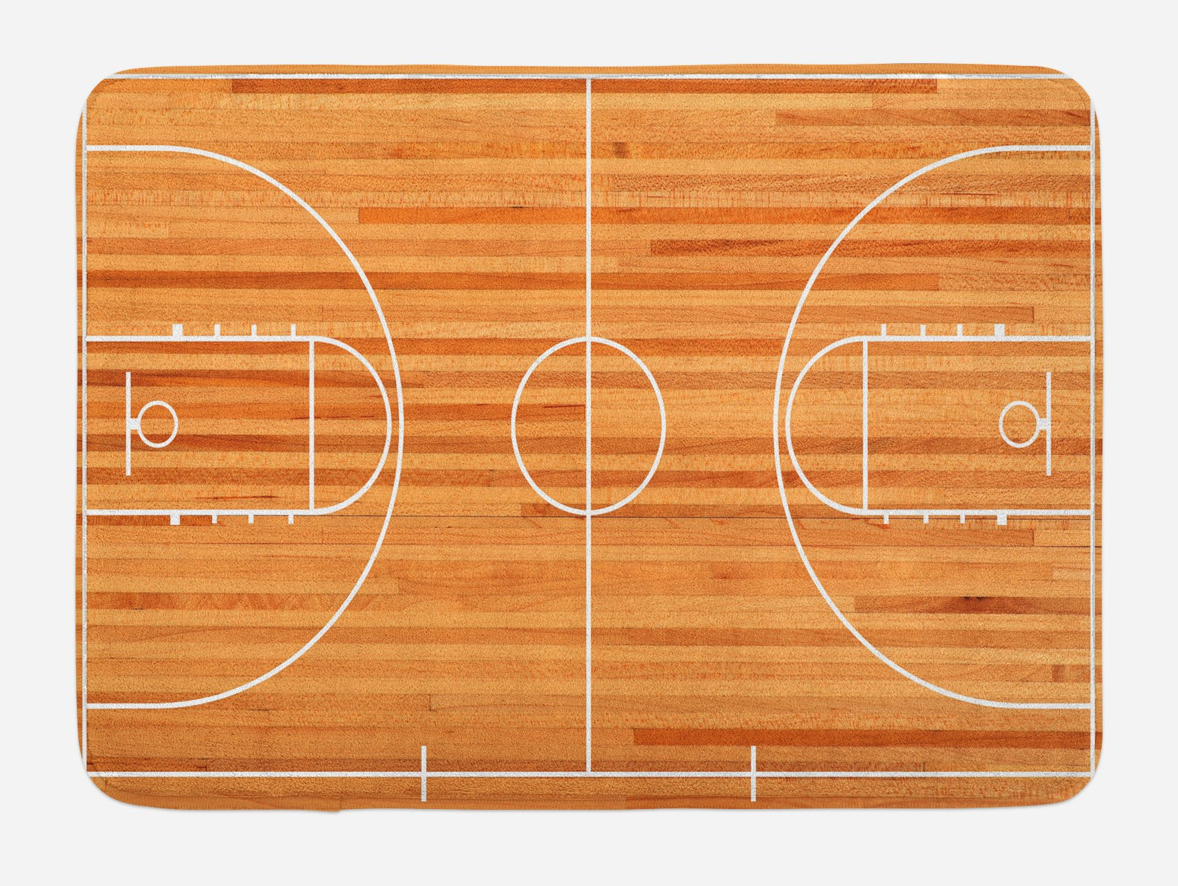 Lunarable Boy's Room Bath Mat, Standard Floor Plan on Parquet Backdrop Basketball Court Playground Print, Plush Bathroom Decor Mat with Non Slip Backing, 29.5 W X 17.5 W Inches, Pale Brown White