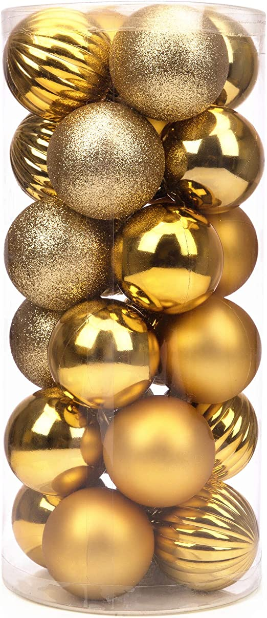 Christmas Ball Decorations 24 Champagne Gold Barrel Xmas Decoration Ball Hanging Pendant Supplies Holiday Wedding Party Decoration