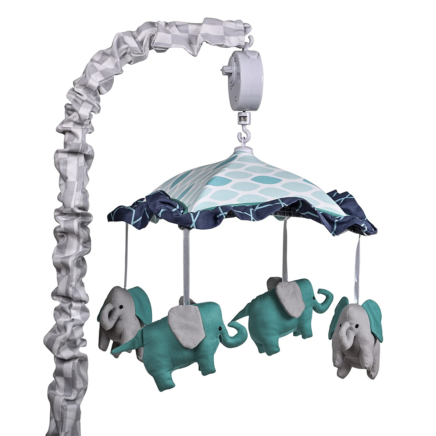 The Peanutshell Mosaic Elephant Musical Mobile, Blue, Grey, Aqua, Small Farallon Brands MMPS: MMPS-MSC