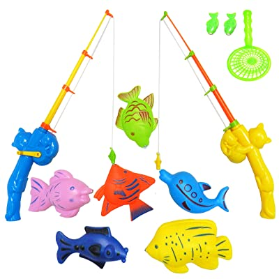 NiGHT LiONS TECH 9 Pcs Bath Toys Set Summer Beach Toy Magnetic Fishing Toys Waterproof Floating Fish Play Sets - Learning Education Toy Set for Kids: Toys & Games [5Bkhe0503443]