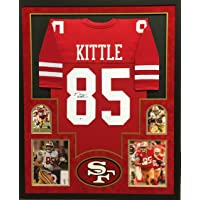 $369 » George Kittle San Francisco 49ers Signed Autographed Custom Framed Red Jersey 4 Picture Suede Matted Beckett Witnessed Certified