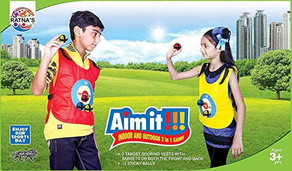 Ratnas Aim It Indoor & Outdoor 2 in 1 Target Game with Velcro Vests and Balls for Kids Ages 3+