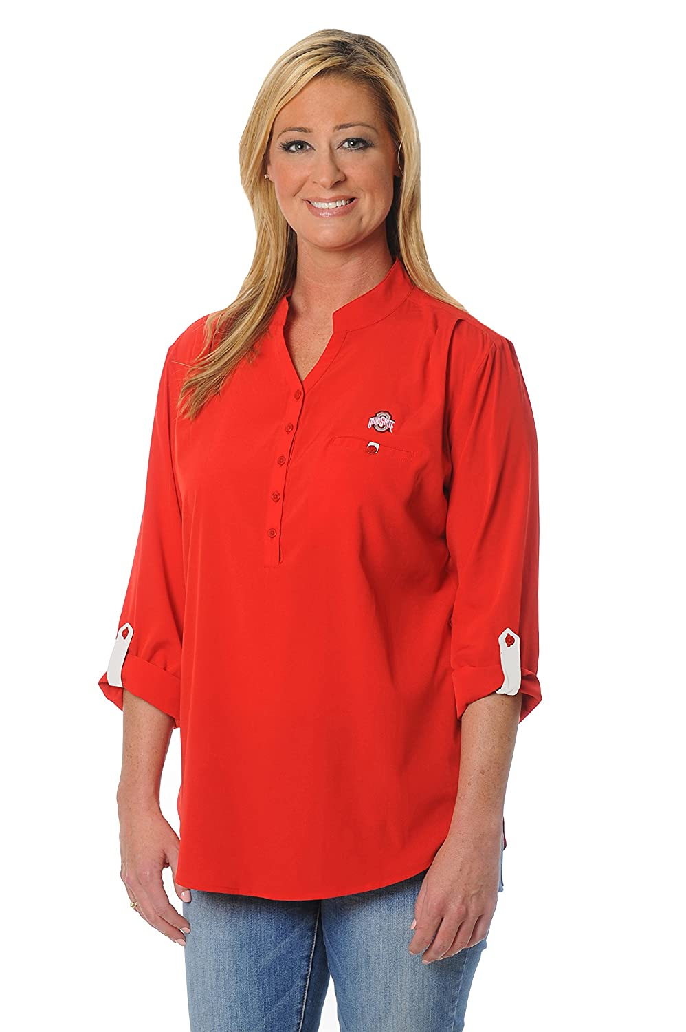 Women's Button Down Ohio State Buckeyes Tunic X Large Red Grey