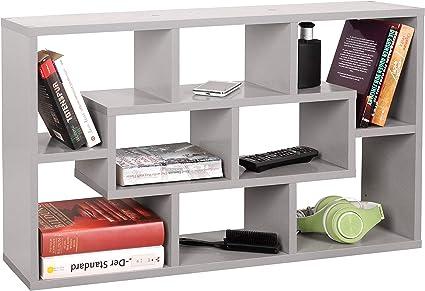 RICOO WM050-PL Estantería Pared 85x48x16cm Estante Colgante Librería Flotante Mueble almacenaje Almacenamiento Libros Biblioteca Madera Gris