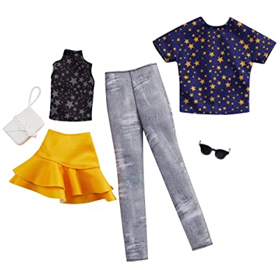 Barbie Fashion Pack with 1 Outfit of Star Top & Yellow Ruffled Skirt & 1 Accessory Doll & Star Shirt, Pants & Accessory for Ken Doll, Gift for 3 to 8 Year Olds: Toys & Games