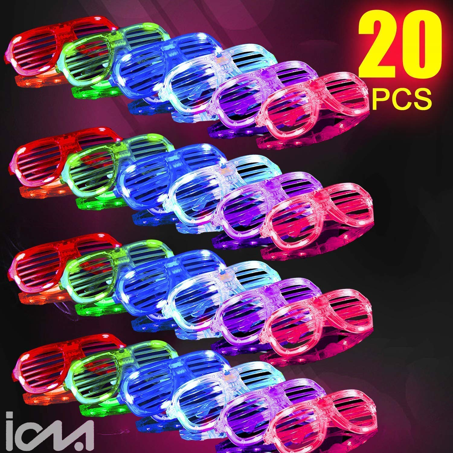 2019 Light Up Glasses,Neon Party Supplies 20 Pack LED Glasses,6 Color LED Sunglasses Shutter Shades Light Up Plastic Shutter Shades for Adults Kids Glow in The Dark Party Favors Rave Party