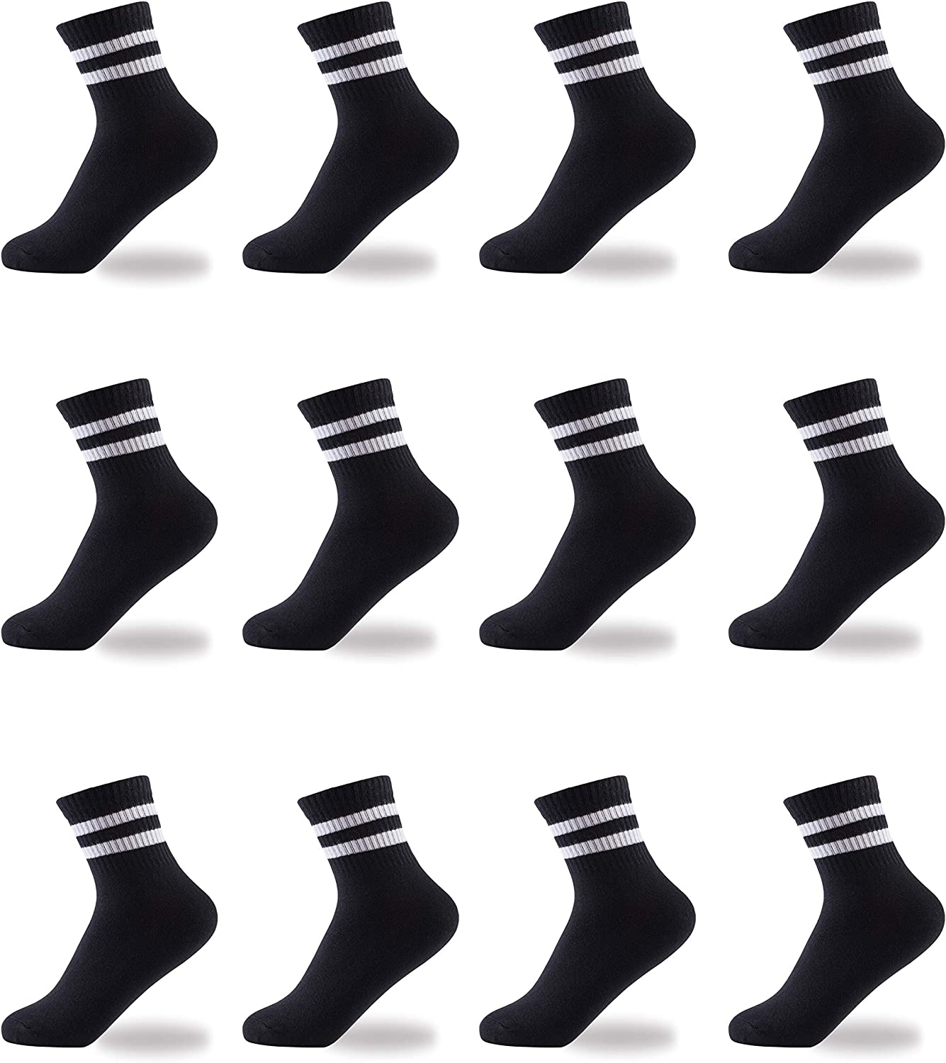 Oohmy Boys Socks Fit for 2-15 Years Old Boys and Girls Cotton Athletic Ankle Socks for Toddler Kids and Big Kids