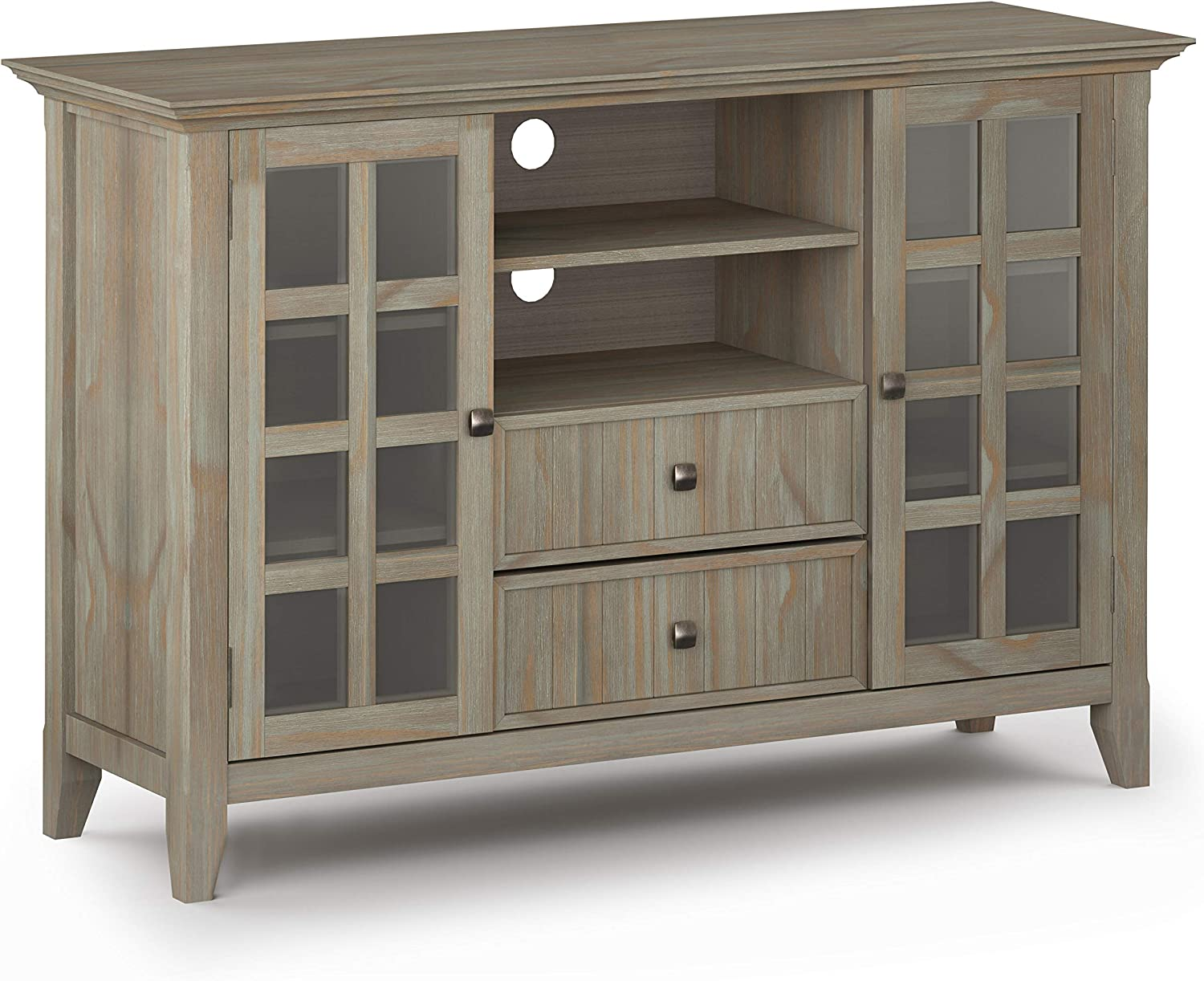 "SIMPLIHOME Acadian SOLID WOOD Universal Tall TV Media Stand, 53 inch Wide, Farmhouse Rustic, Storage Shelves and Cabinets with Glass Doors, for Flat Screen TVs up to 60"", Distressed Grey"