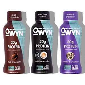 OWYN - 100% Vegan Plant-Based Protein Shakes | Dark Chocolate, Cold Brew, Cookies N Cream, 12 Fl Oz (Pack of 12) | Dairy-Free, Gluten-Free, Soy-Free, Tree Nut-Free, Egg-Free, Allergy-Free, Vegetarian