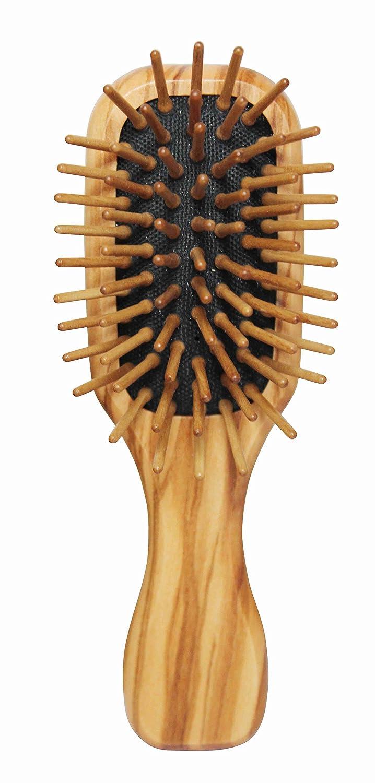 Lilywoods Mini Travel Size spazzola in legno w/cuscino di gomma & Olive Pins legno