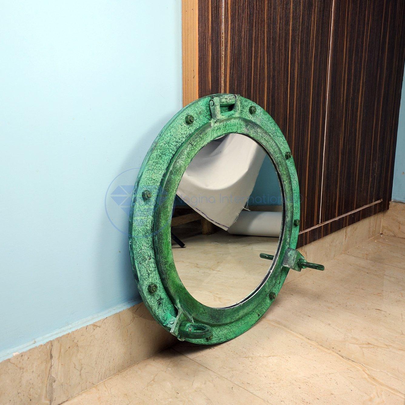 20'' Shipwrecked Premium Aluminum Antique Algae Green Porthole Mirror | Retirement Gift | Nagina International by Nagina International (Image #2)
