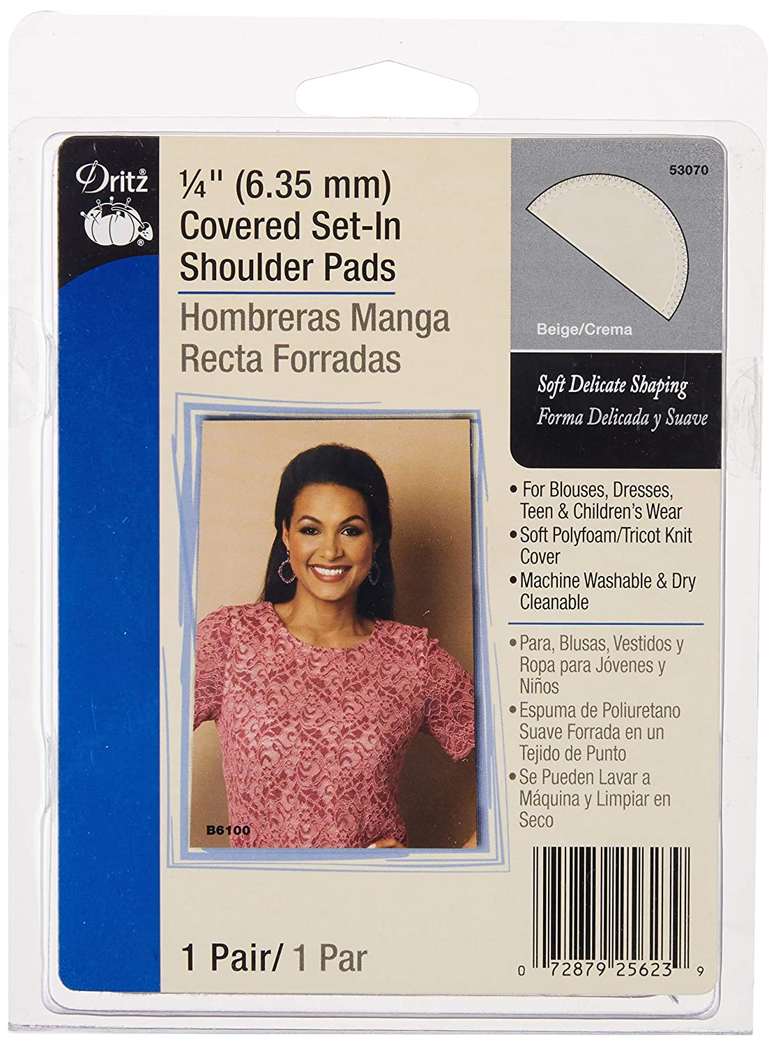 Dritz 53070 Shoulder Pads, Covered Set-In, 1/4-Inch, 1/4