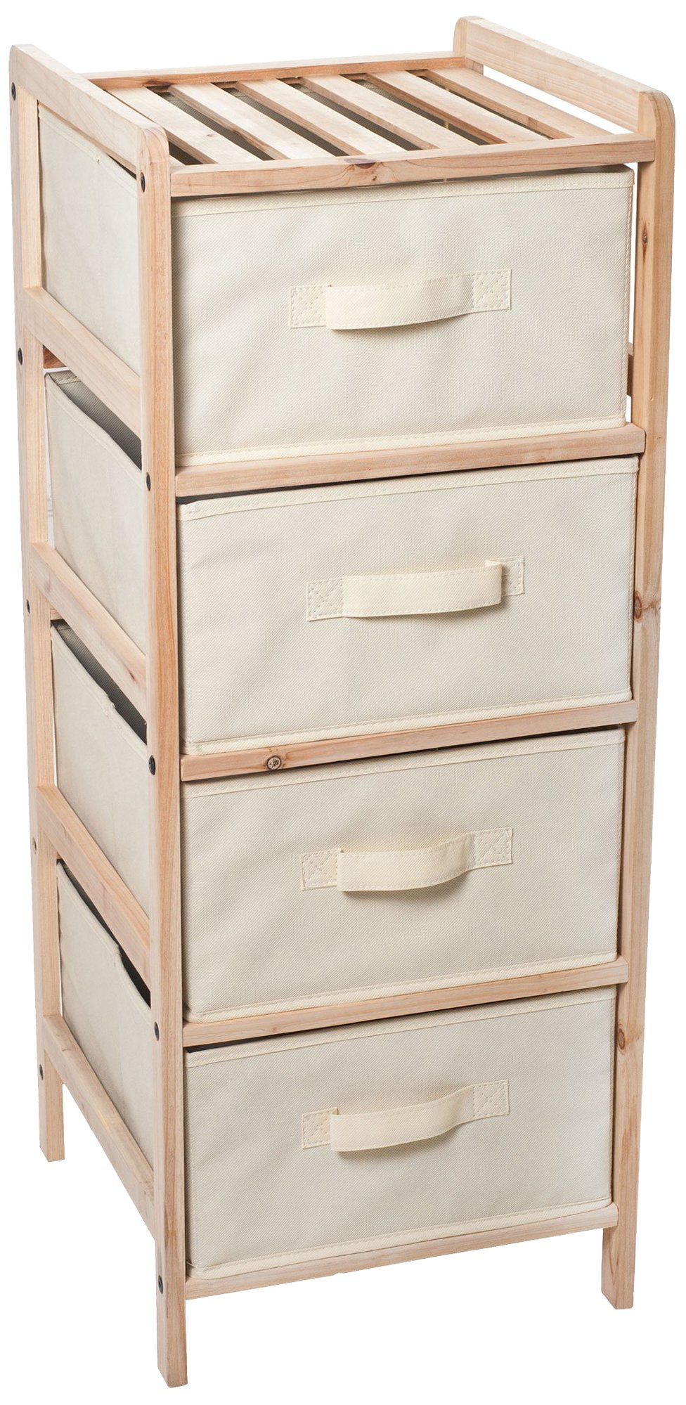 Lavish Home Organization Drawers with Natural Wood Shelf and Four Fabric Storage Bins- Lightweight and Perfect for Dorms, Bathrooms or Bedrooms by
