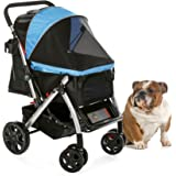 HPZ Pet Rover Premium Heavy Duty Dog/Cat/Pet Stroller Travel Carriage With Convertible Compartment/Zipperless Entry/Reversible Handle Bar/Weather Resistance for Small, Medium, Large Pets