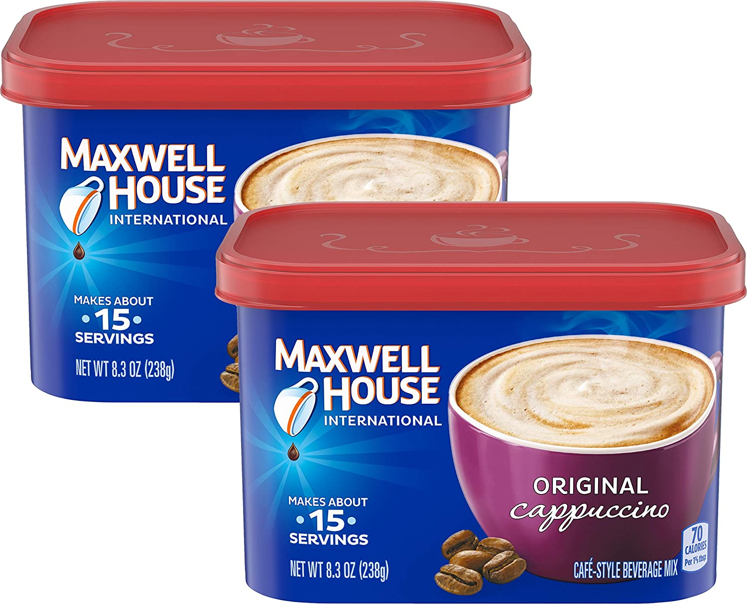 Maxwell House International Cafe Original Cappuccino, 8.5 oz Tub (Pack of 2)