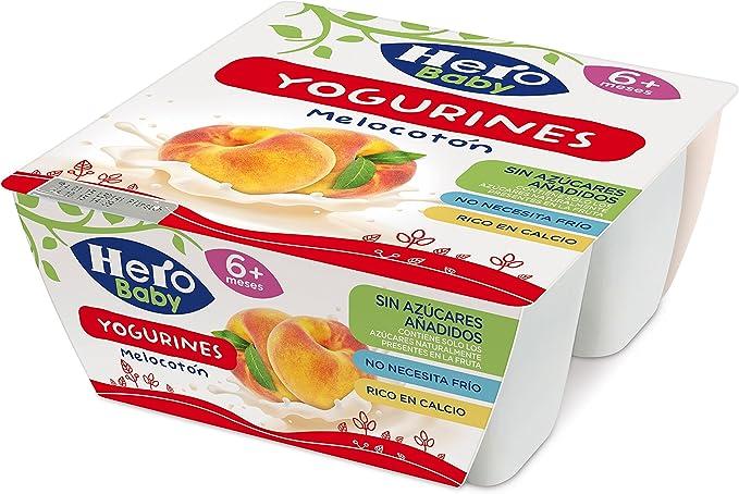 HERO Baby yogurines melocotón pack 4x100 gr: Amazon.es: Alimentación y bebidas