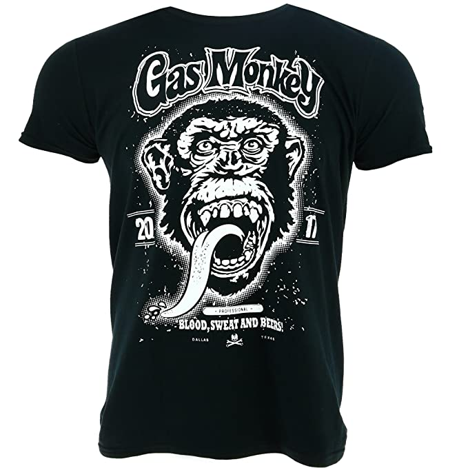 Gas Monkey Garage Large Monkey Negro Camiseta Oficial Con licencia TV: Amazon.es: Ropa y accesorios